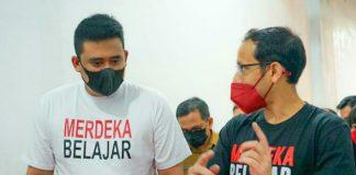 Walikota Medan, Bobby Nasution bersama Nadiem Makarim meninjau pembelajaran PTM di Medan